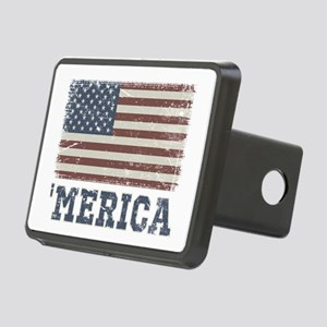 'Merica Flag Vintage Rectangular Hitch Cover